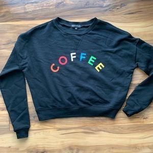 Fifth sun coffee lettering crop sweatshirt XS